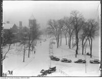 Campus grounds during a snowstorm