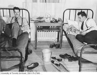 Evans brothers in a residence room in Ajax