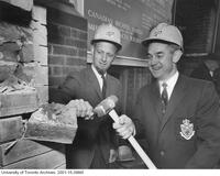 James Milton Ham and R.F. Moore at the ceremony for the demolition of the School of Practical Science (Engineering) Building