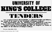 Broadside requesting tenders for the University of King's College