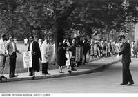 Protest against the Vietnam War in front of Convocation Hall.
