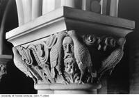 Stone carvings in the University College rotunda.
