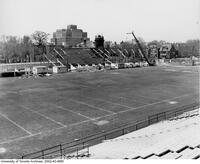 Construction of bleachers on the north west side of Varsity Stadium.