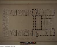 Drawing of ground floor plan for proposed building for Women's University College, 1920 designed by architect John M. Lyle