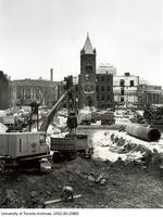 "Tearing down the ""Old Red Skulehouse"", 1967 to make way for the Medical Sciences Building,"