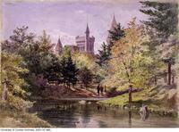 "Watercolour entitled ""University College in 1876"""