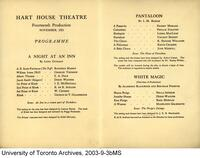 Hart House Theatre Fourteenth Production Nov. 1921[Programme]