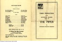 "Programme for Hart House Theatre production ""The Piper"""