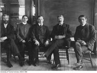 Ramsay Wright and Archibald Macallum with three students
