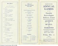 Programme for the Annual Games of the Canadian Intercollegiate Athletic Union Oct. 1909, (outside)