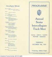 Programme Annual Senior Intercollegiate Track Meet, Oct. 1935, (Front and Back cover)