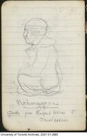 Pencil sketch by John Galbraith of native guide, Nahmagoons.