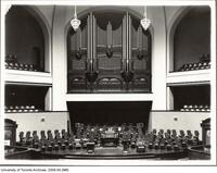 Convocation Hall - view of organ and pipes from platform