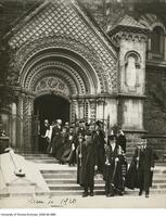 Chancellor and officials, exit University College during convocation