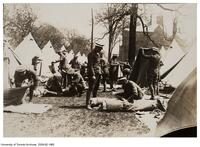 Royal Flying Corps, with bed rolls in front of tents on University of Toronto Back Campus