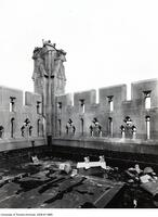 Soldiers' Tower, damage after struck by lightening, Sept. 2, 1930