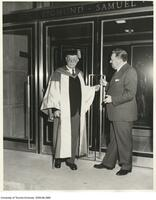 Sigmund Samuel and Mr. Mathers at the doors of the Library