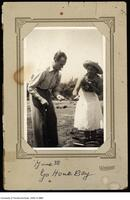 Donald Coxeter and wife Rien cooking outdoors, Go Home Bay, June 1938