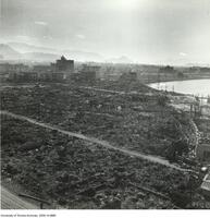 Hiroshima Atomic Bomb aftermath - view looking across centre of damage