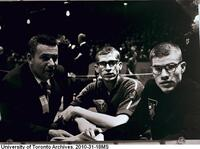 Bruce Kidd, Bill Crothers, and coach Fred Foot at the Millrose Games, Madison Square Garden