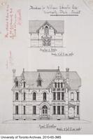 Residence for William Christie - Front  Elevation and Elevation of Stable