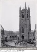 Soldiers Tower - Armistice Day Service, Nov. 11 1935 during the two minute silence