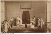 "Scene from the April 11-12 1882 production of ""Antigone"", put on in Convocation Hall, University College, by the students of the College"