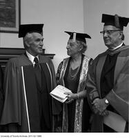 Bora Laskin (left) on the occasion of receiving an Honorary Degree from the Ontario Institute for Studies in Education, June 13 1975