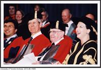 Dr. James Till and Dr. Ernest McCulloch at Convocation where they received an Honorary Degree, June 9 2004