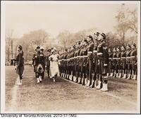 Her Majesty Queen Elizabeth inspects cadets on the back campus, University of Toronto, May 1939