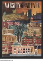 Cover of the Varsity Graduate, April 1948 showing a stylized view of buildings on the University of Toronto campus