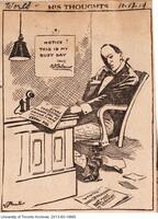 Cartoon depicting President Falconer in his office, designed to illustrate the German Professors controversy at the start of World War I.