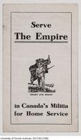 """Sever the Empire in Canada's Militia for Home Service"" - Cover of a World War I recruiting pamphlet."