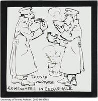 """Trench Warfare somewhere in Cedarvale""- Cartoon depicting COTC field days during World War I."