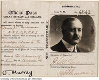 Official Pass for J.C. McLennan issued to him by the British Admiralty.
