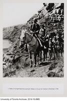 Soldiers of the Eighth Route Army escorting Dr. Bethune on his way from Chia hsien to Hochiachuan in 1938