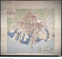 U.S. Army map of Hiroshima Japan showing concentric circles radiating from Ground Zero