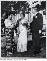 Dr. Andrew J. Rhodes (right) of the School of Hygiene with visiting doctors, Dr. Myint of Burma (left) and Dr. D. Robert (centre) of India
