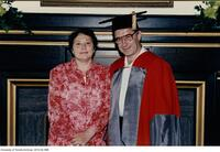 Russian mathematician, Vladimir Arnold with wife Elya at the ceremony to receive a Doctor Honoris Causa Degree from the University of Toronto, June 1997