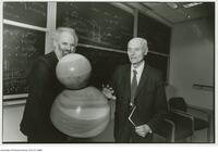 Geometer Donald Coxeter with Prof. Ronald Brown of the University of Wales on the occasion of Coxeter's 90th birthday celebrated at the Fields Institute, Feb, 17 1997