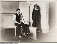 World War I rehabilitation in Hart House - shown here a blind patient with a physiotherapist.
