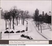 King's College Circle in a snow storm, January 1940