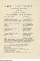 "Hart House Theater Program - Shakespeare's ""The Tempest"", June 1922"