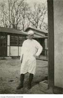 Frederick Coates outside of hut, Queen's Hospital at Sidcup.