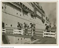 Canadian World War II nurses boarding ship in Halifax