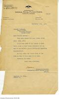 Letter from the Brigadier General of the Royal Flying Corps to Vincent Massey regarding use of Hart House