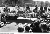 "1968 Homecoming Float Parade - Erindale ""hate violence"" theme float"
