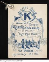 K Company Last Roll Call, Jan 26, 1893 - Front cover