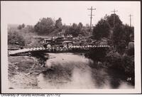 COTC Niagara Camp, artillery piece being towed over bridge
