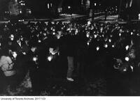 Candlelight vigil for the Montreal Ecole Polytechnique massacre, organized by the University of Toronto Women's centre